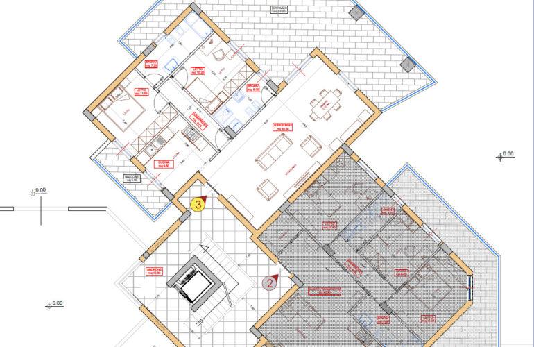 56 mq di terrazzo + box x 2 auto